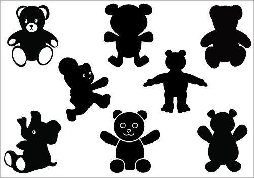 501x351 Teddy Bear Silhouette Clip Art Pack