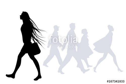 500x334 Teen Girl With Long Hair In The Wind Walking On The Street