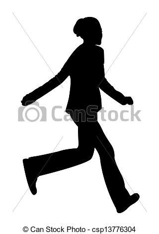 320x470 Running Teenage Girl Silhouette Stock Photography