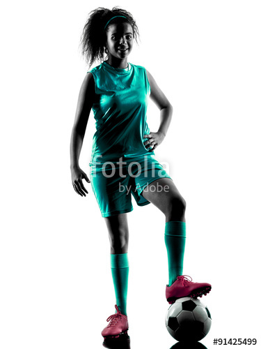 375x500 Teenager Girl Soccer Player Isolated Silhouette Stock Photo