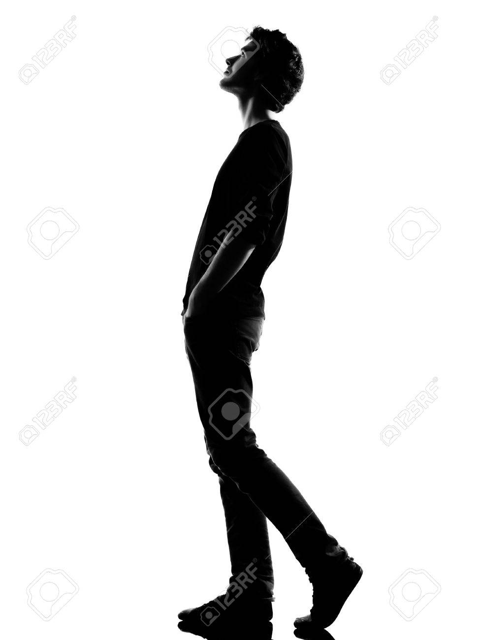 971x1300 One Caucasian Young Teenager Silhouette Boy Or Girl Full Length