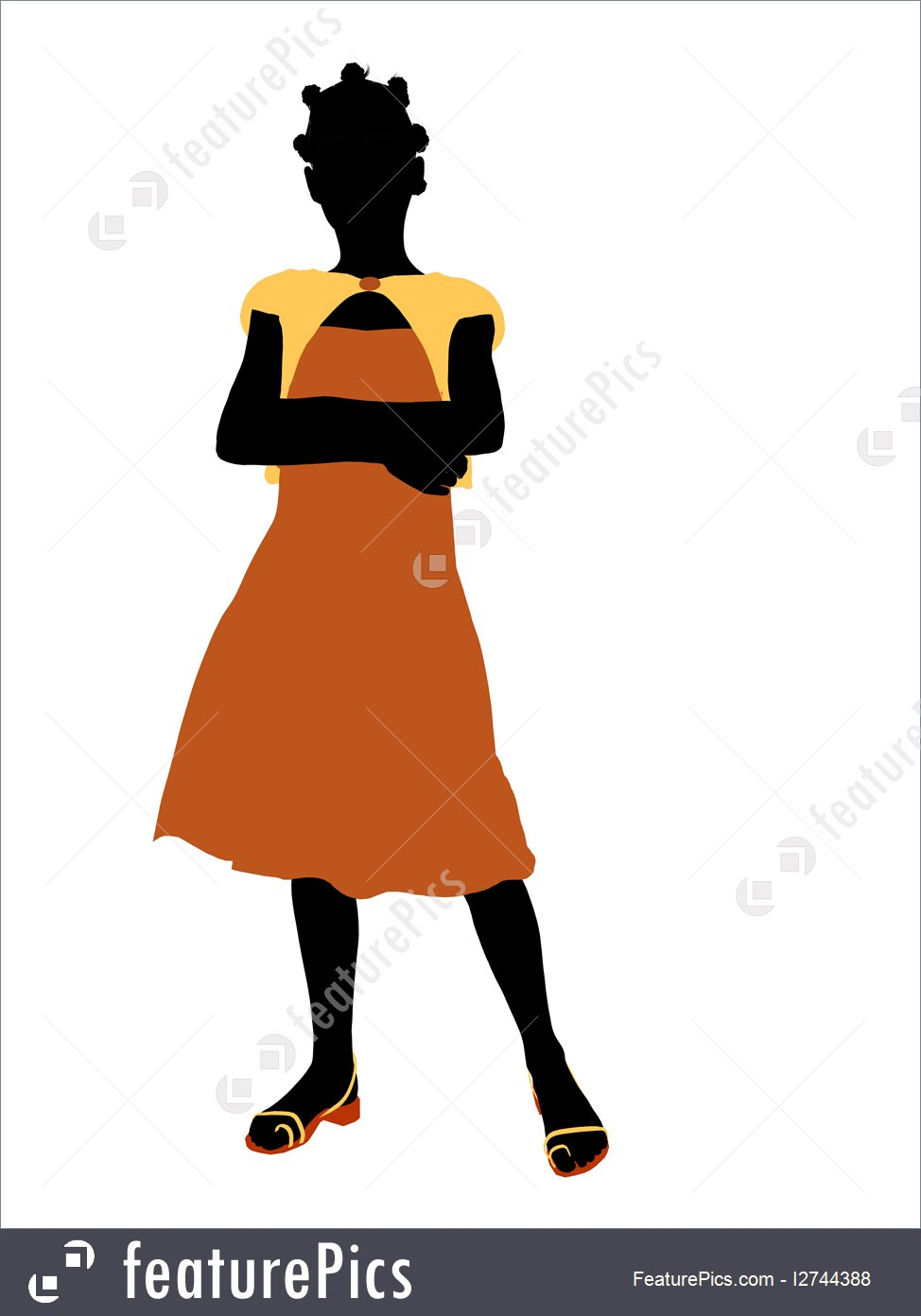 974x1392 Teenager Girl Silhouette Illustration