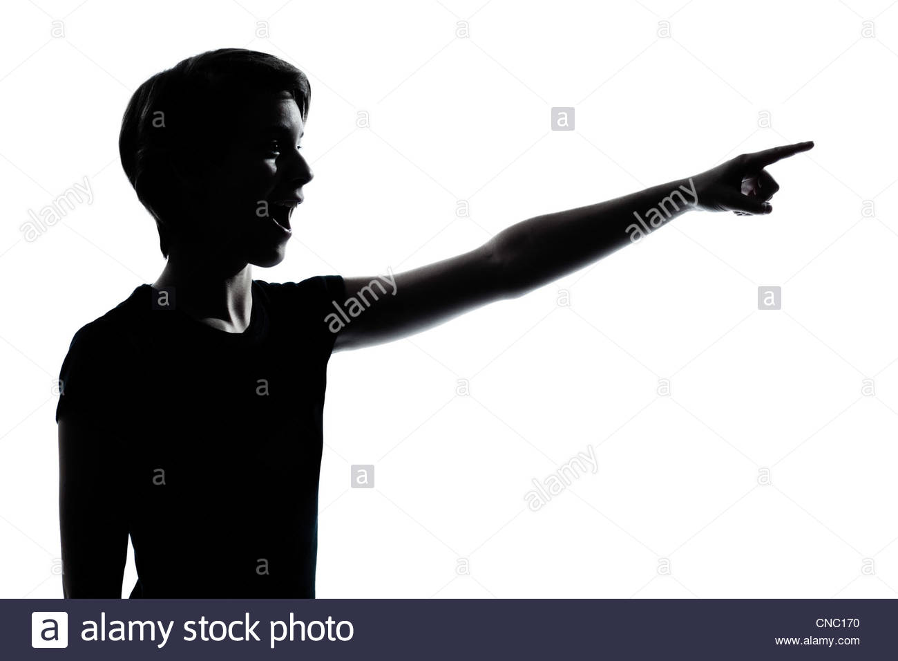 1300x956 One Caucasian Young Teenager Silhouette Boy Or Girl Pointing Stock