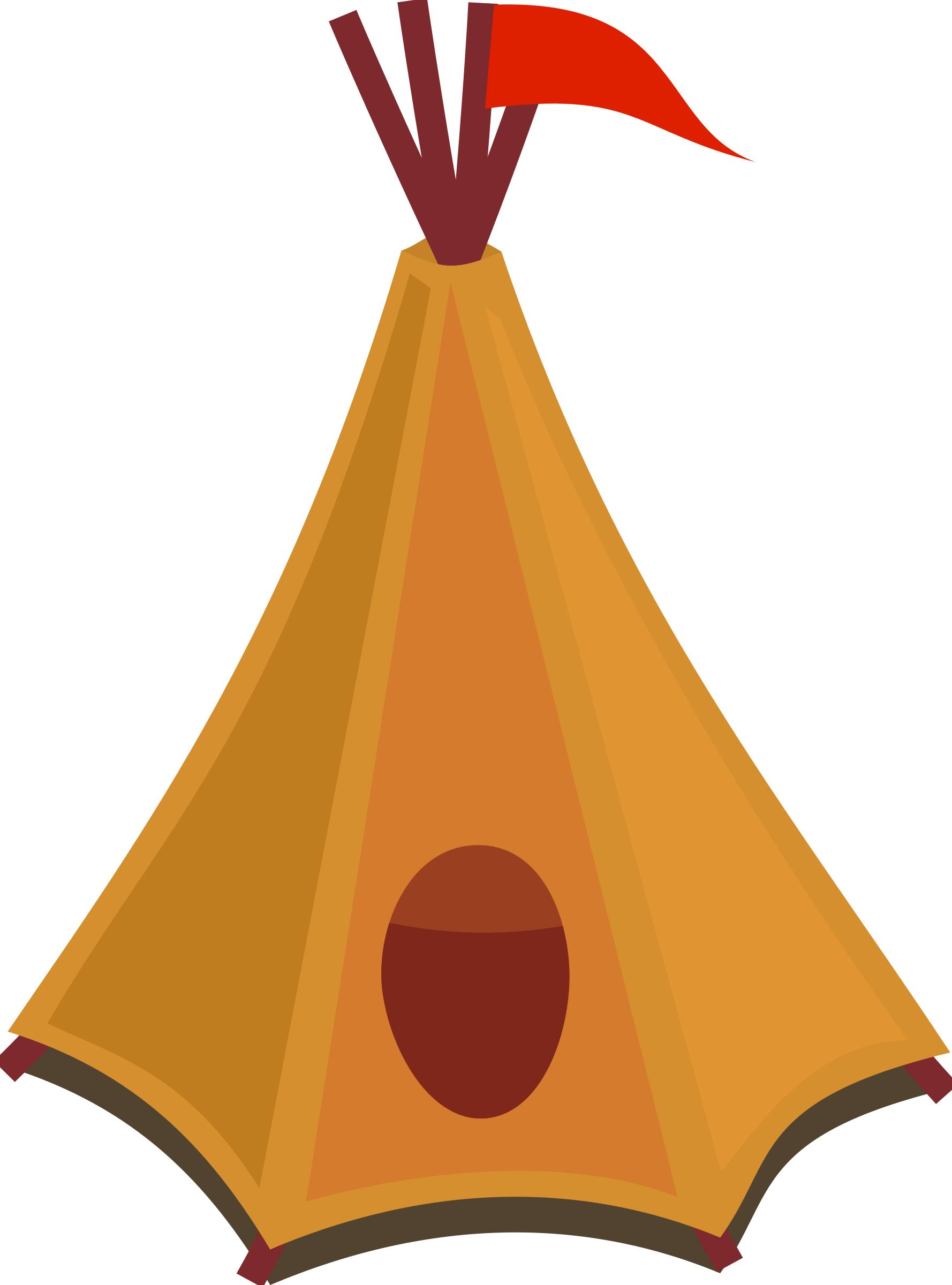 1778x2400 Cartoon Tipi Tent With Red Flag Icons Png
