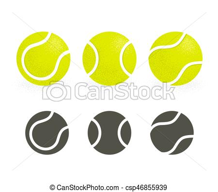 450x395 Tennis Balls Set. Black Silhouette Icons And Realistic Color