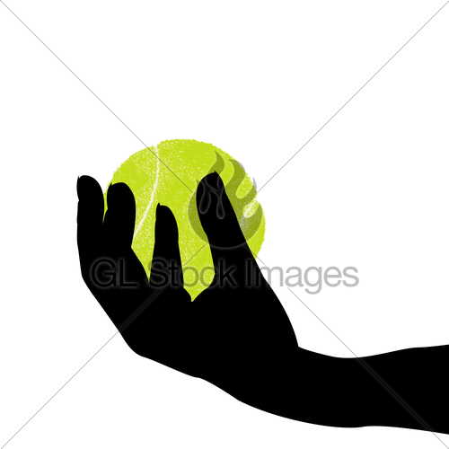 500x500 Hand Silhouette Holding A Tennis Ball Gl Stock Images