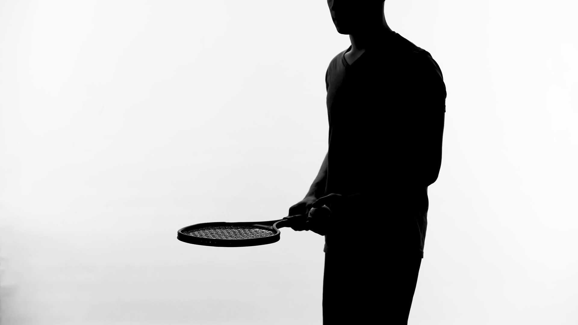 1920x1080 Tennis Player Silhouette Practicing Reaction, Bouncing Ball