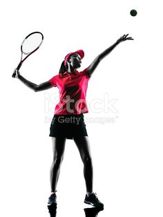 236x314 Girl Playing Tennis Black Silhouette On White Background Vector