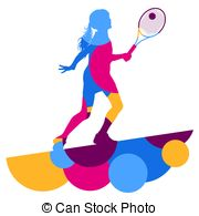 180x195 Girl Tennis Player Active Sport Silhouette Abstract Mosaic Clip