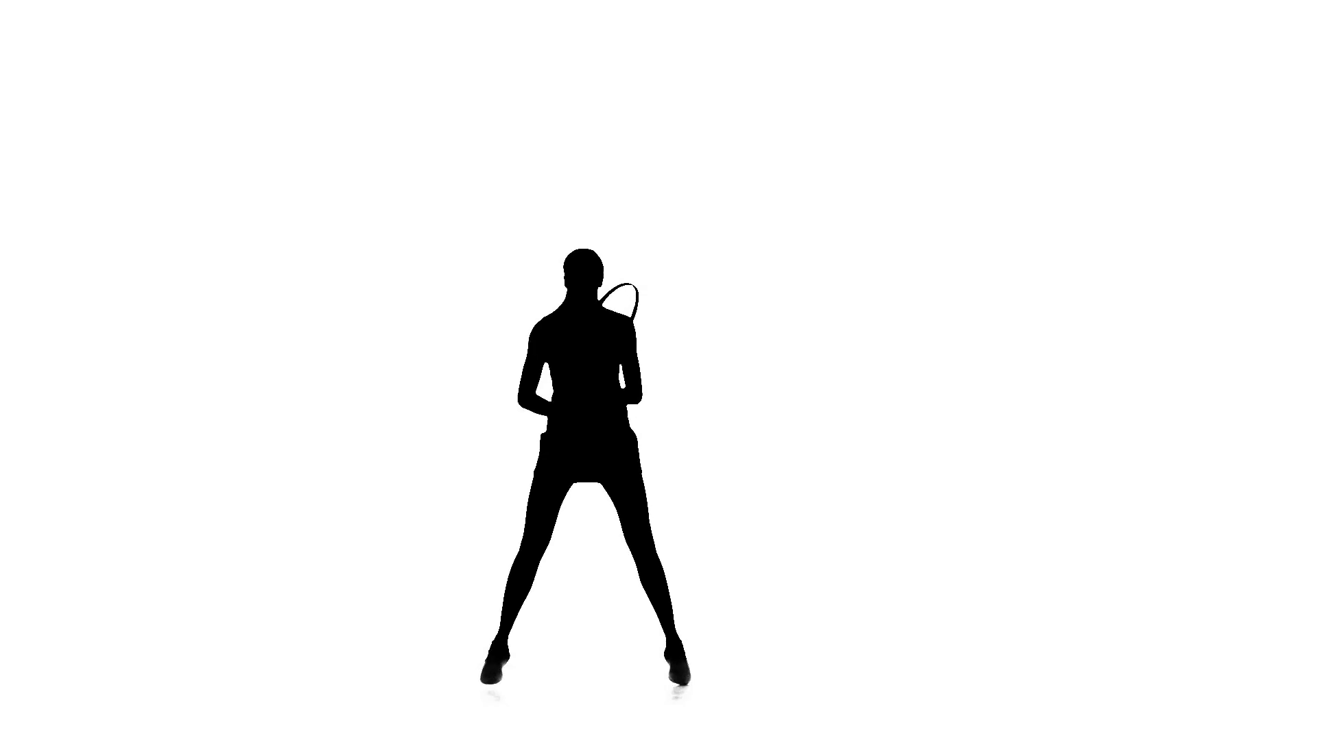1920x1080 Girl With A Racket In The Hands Of Playing Tennis. Silhouette