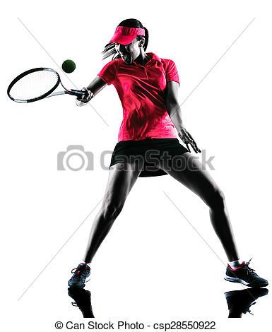 385x470 Woman Tennis Player Sadness Silhouette. One Woman Tennis Stock