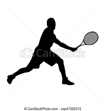 450x470 Isolated Tennis Player. Isolated Silhouette Of A Tennis Vector