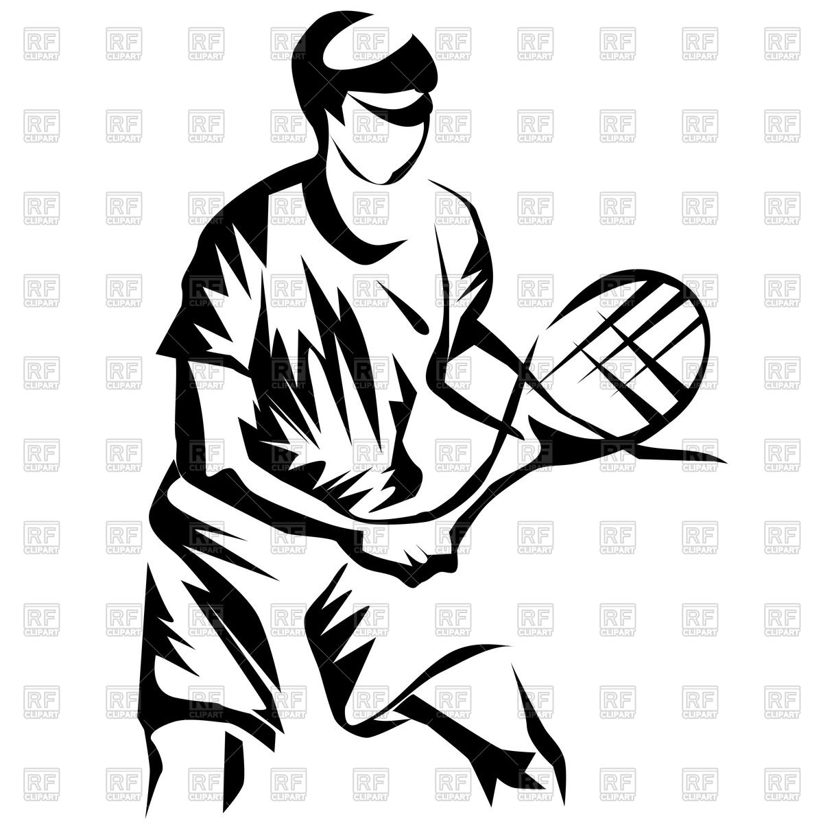 1200x1200 Silhouette Of Tennis Player Royalty Free Vector Clip Art Image