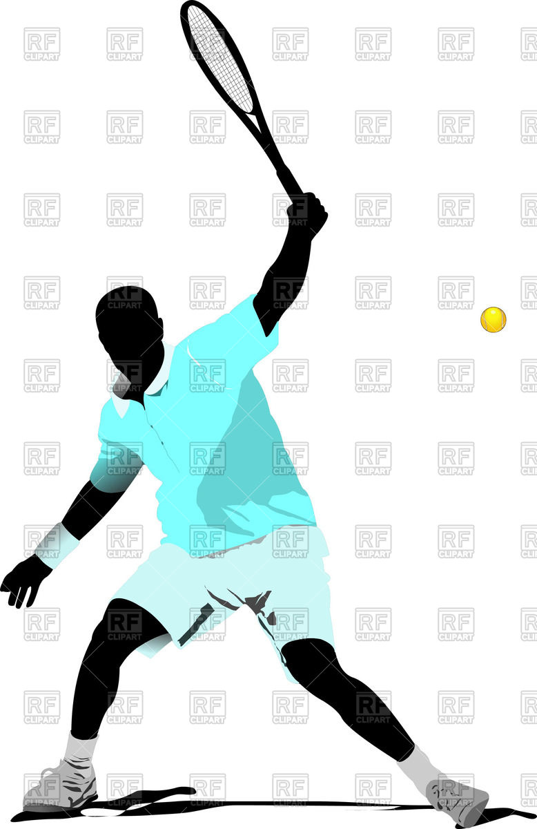 778x1200 Colored Silhouette Of Tennis Player With Racket Royalty Free