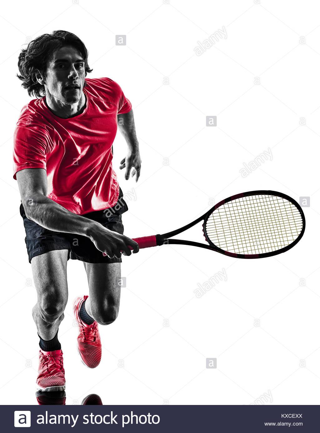 1025x1390 One Caucasian Hispanic Tennis Player Man In Studio Silhouette