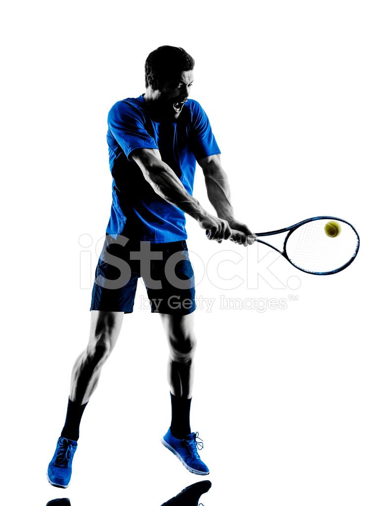 767x1024 Man Silhouette Playing Tennis Player Stock Photos