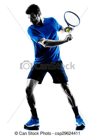 329x470 Man Silhouette Playing Tennis Player. One Caucasian Man Stock