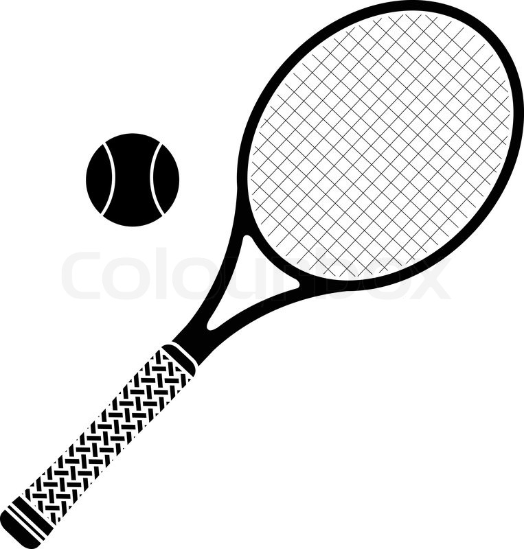 763x800 Tennis Ball And Racket Black And White Collection