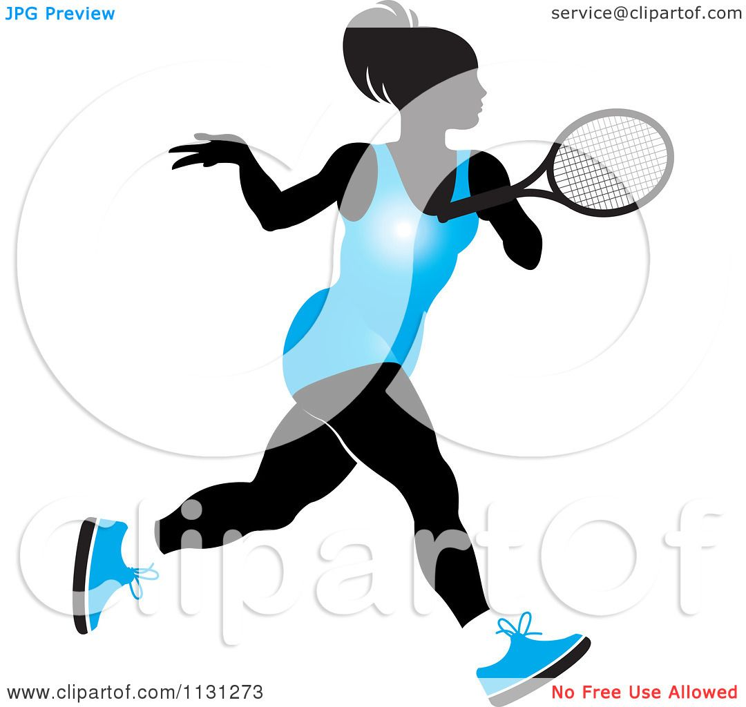 1080x1024 Clipart Of A Silhouetted Tennis Woman In A Blue Outfit