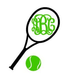 236x270 Tennis Racquet Monogram Instant Download Cut File