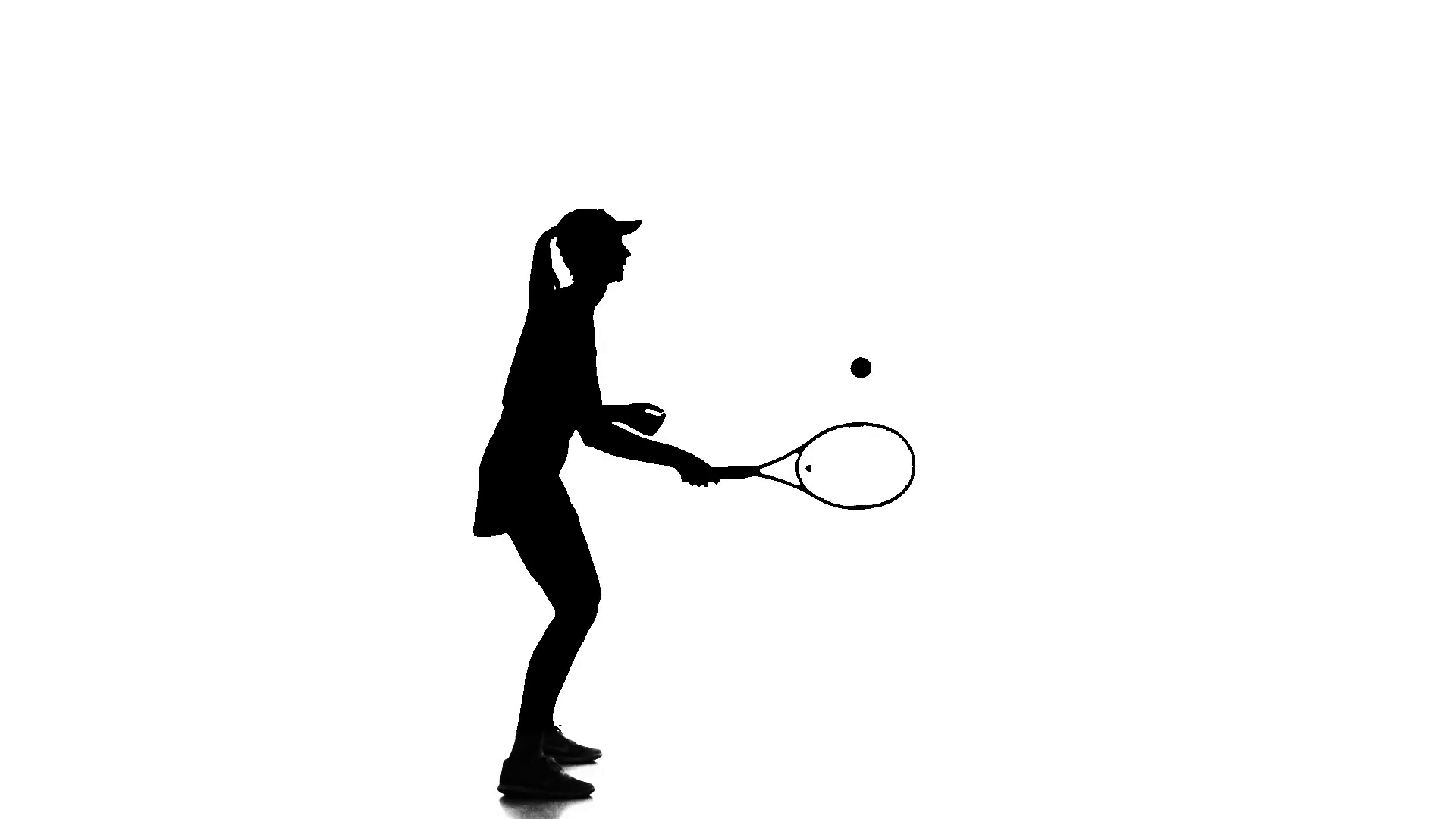 1920x1080 Tennis In The Sports Form Fills Ball Racket Edge. Silhouette. Slow