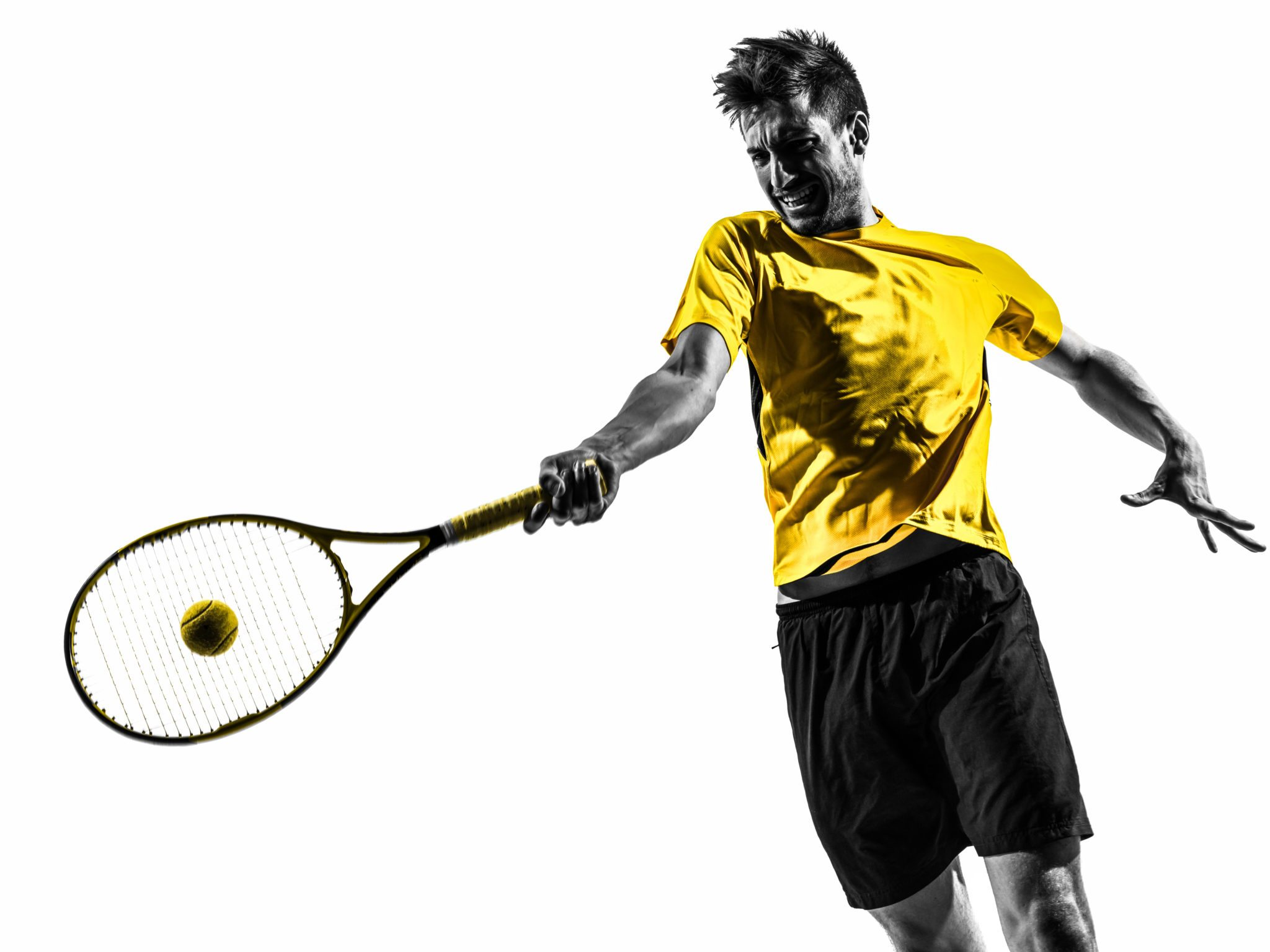 2048x1536 One Man Tennis Player Portrait In Silhouette On White Background