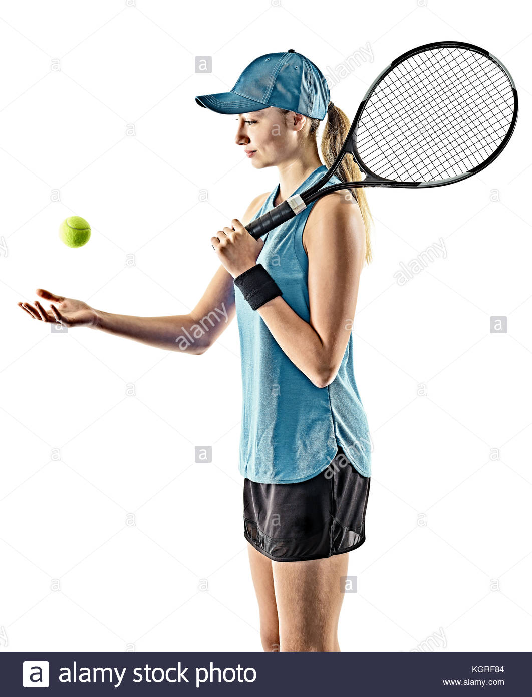 1062x1390 One Young Caucasian Tennis Woman Isolated In Silhouette On White