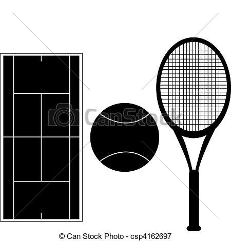 450x470 Set Of Tennis Silhouettes With Court Diagram, Tennis Ball