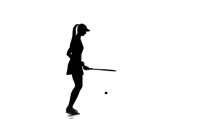 852x480 Girl Tennis Player Playing Tennis And Jumping. White Background