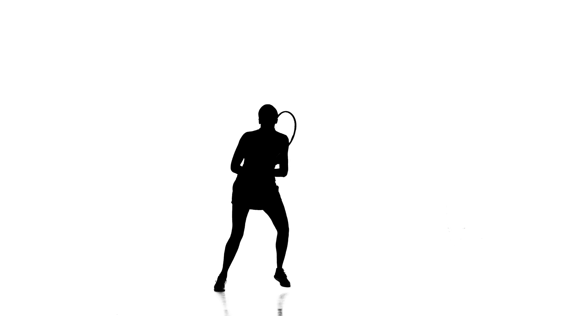 1920x1080 Girl Tennis Player Playing Tennis And Jumping. White Background