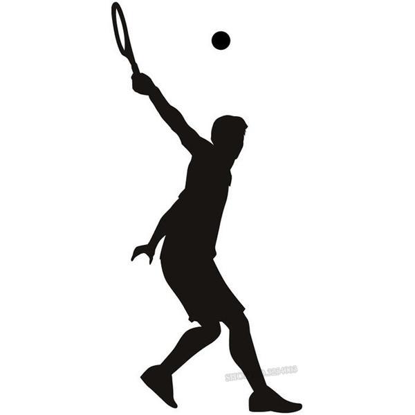 600x600 Sport Wall Sticker Tennis Wide Swing Silhouette Tennis Wall