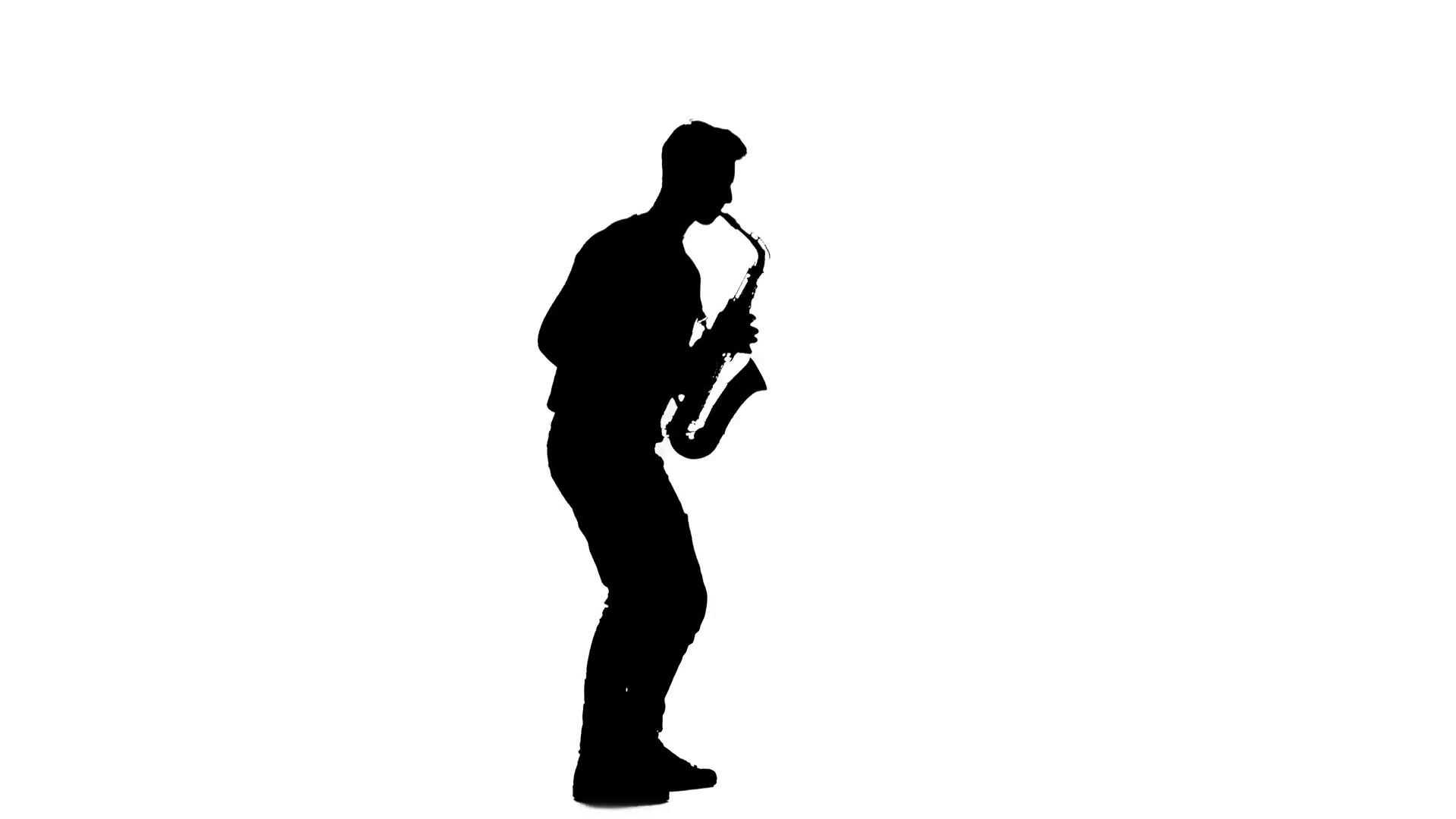 1920x1080 Saxophonist Silhouette Playing A Musical Instrument On A White