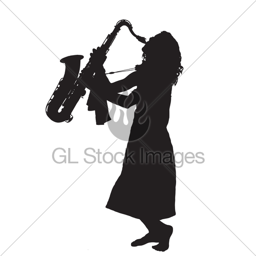 500x500 Silhouette Of Young Barefoot Woman Playing Saxophone Gl Stock Images