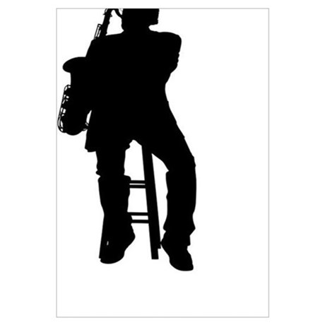 460x460 Silhouette Of A Tenor Saxophone Player Framed Print