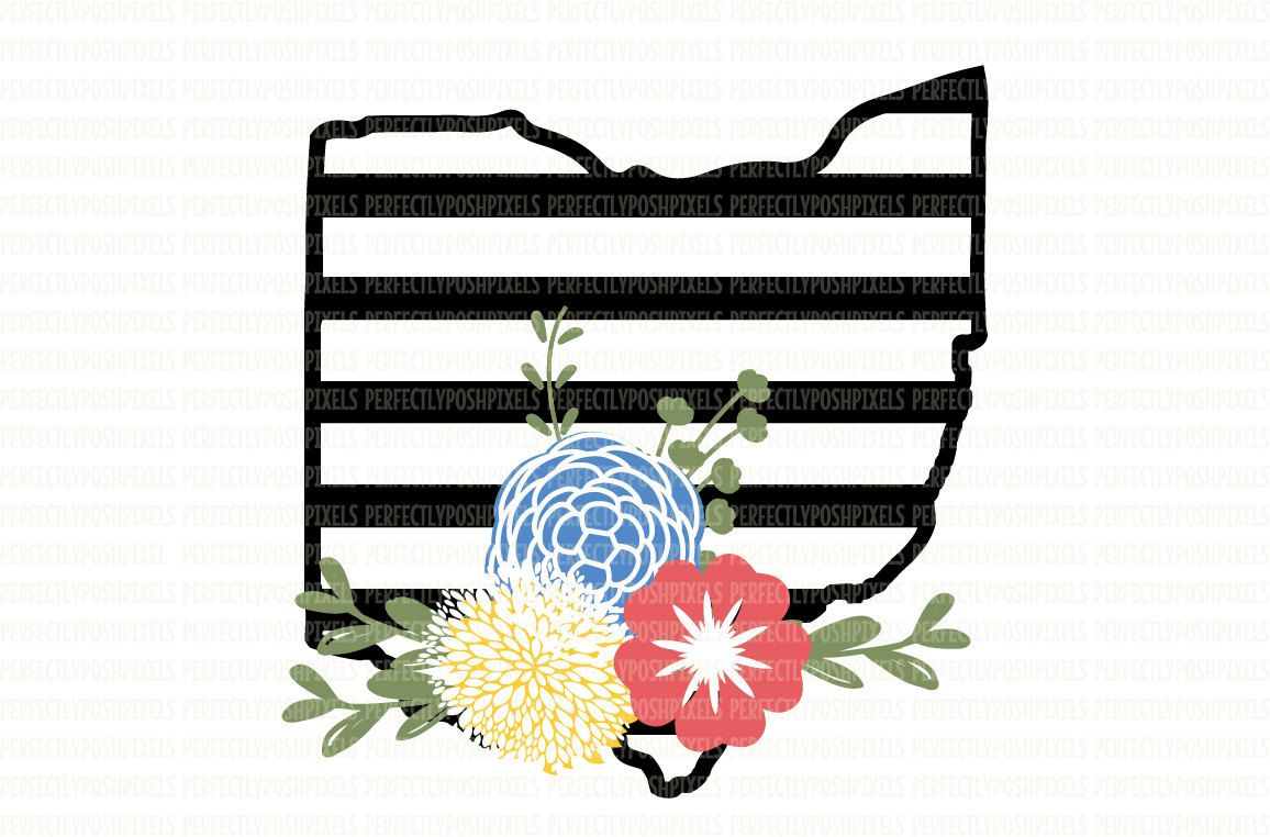 1156x762 Ohio Svg Black And White State Printable Clipart Floral Swag