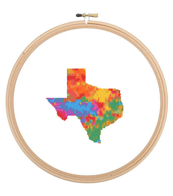 570x646 Texas Map Cross Stitch Pattern Colorful Modern Cross Stitch