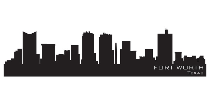 700x350 Fort Worth, Texas Skyline. Detailed Vector Silhouette Wall Mural