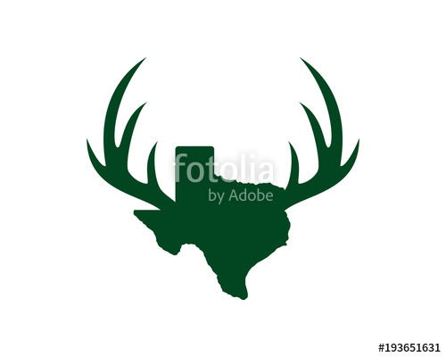 500x400 Texas Map With Antlers Of The Deer Symbol Logo Vector Stock Image