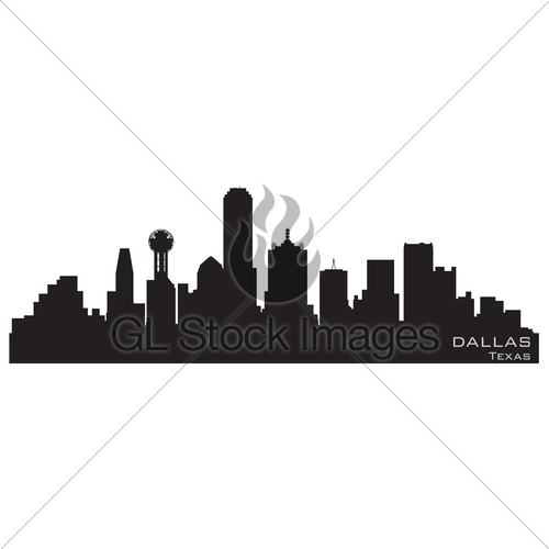 500x500 Dallas, Texas Skyline. Detailed Vector Silhouette Gl Stock Images
