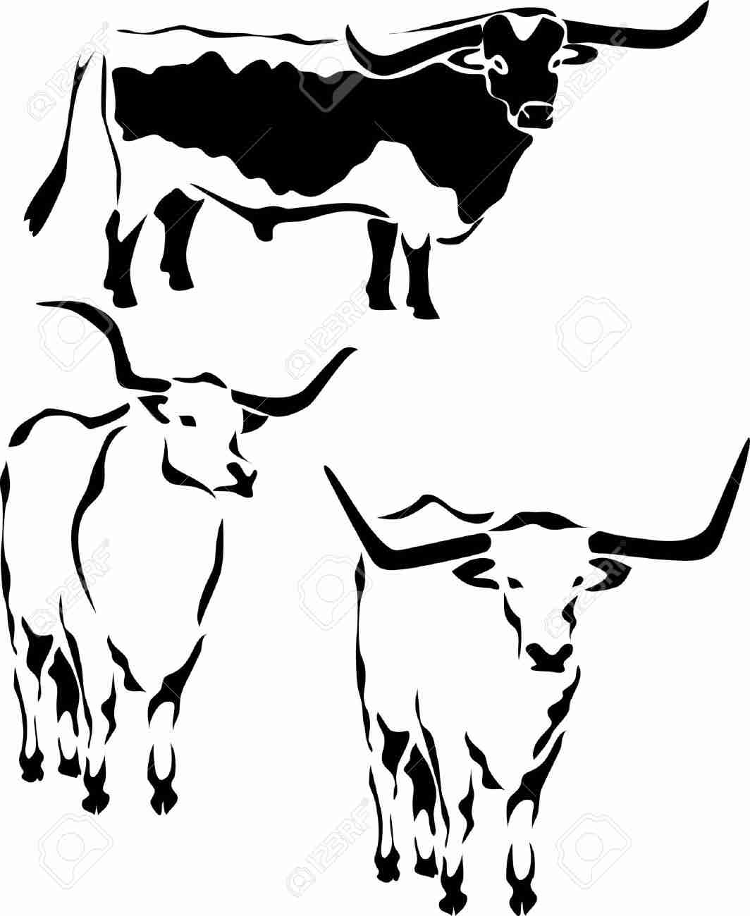 1064x1300 Silhouettes Cattle Breed Texas Longhorn Stock Vector 160377 Lovely