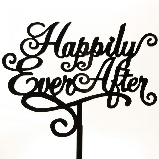 650x650 Happily Ever After Marriage Script Acrylic Wedding Day Cake Topper