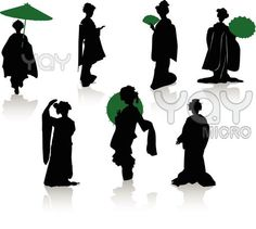 236x211 Silhouettes Of Dancers Of Japanese Theater Kabuki And Silhouettes
