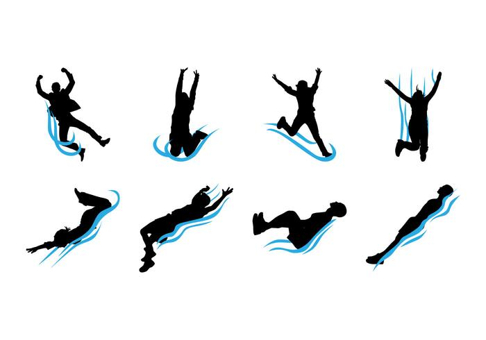 700x490 Free Water Slide Silhouettes Vector