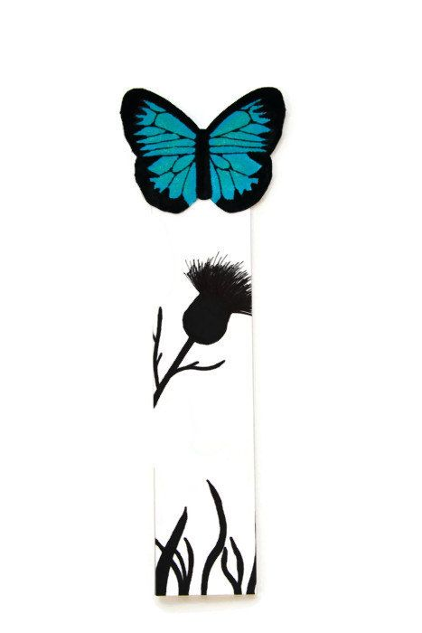 467x700 Butterfly Bookmark Blue And Black Thistle Silhouette By Cocoraes