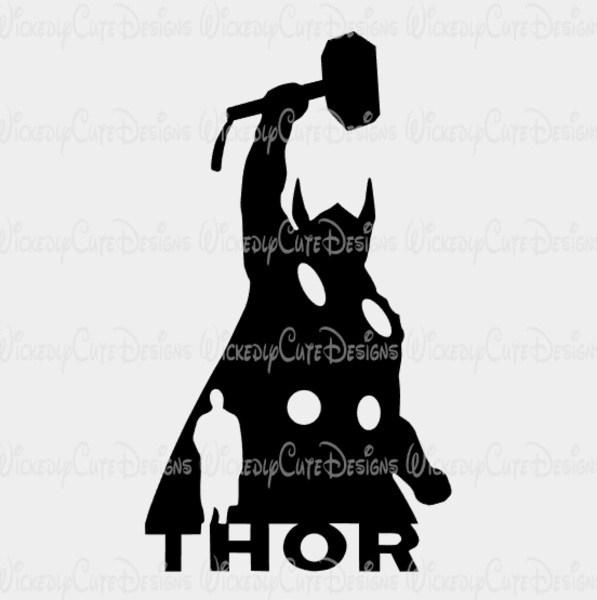 597x600 Thor Silhouette Svg, Dxf, Eps, Png Digital File Wickedly Cute