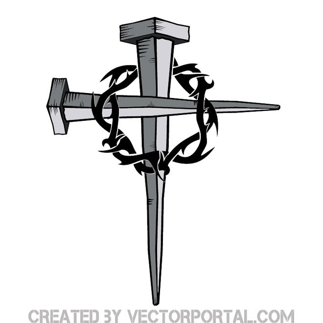 660x660 Cross Of Nails With Thorn Free Vector 123freevectors