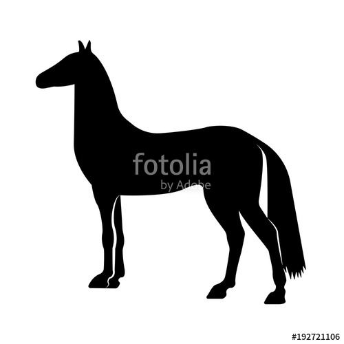 500x500 Vector Image Of A Silhouette Of A Horse Standing On The Hind Legs