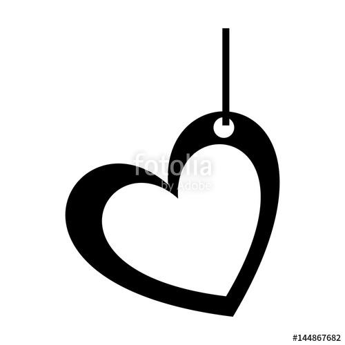 500x500 Monochrome Silhouette Of Heart Pendant Of Thread Vector