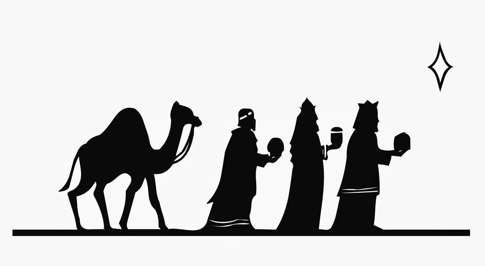 1600x878 Silueta De Reyes Magos Para Pintar En Cojines O Manteles. Nadal