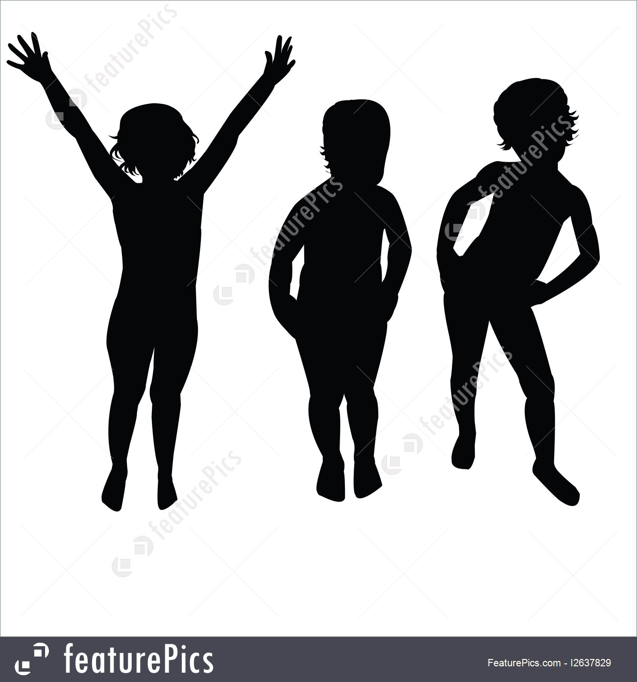 1300x1392 Silhouettes And Outlines Three Children Silhouettes
